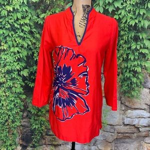 LILLY PULITZER Red Floral V-Neck, S